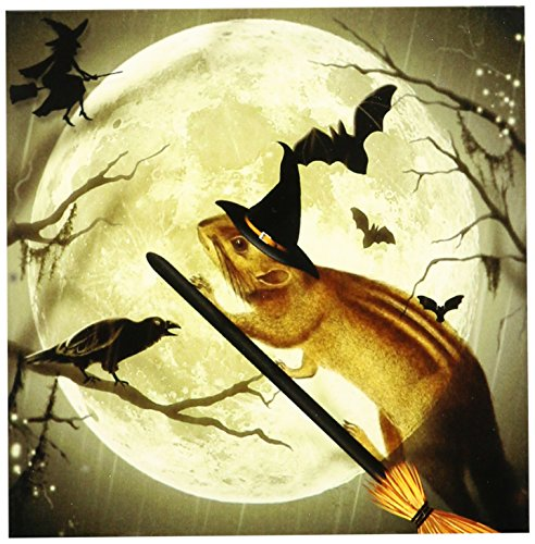 Doreen Erhardtハロウィンコレクション???キュートヴィンテージSquirrel On A Broom With a Harvest Moon and witchsハット、彼女はReady for Halloween。???タイル 6-Inch-Ceramic ct_150172_2
