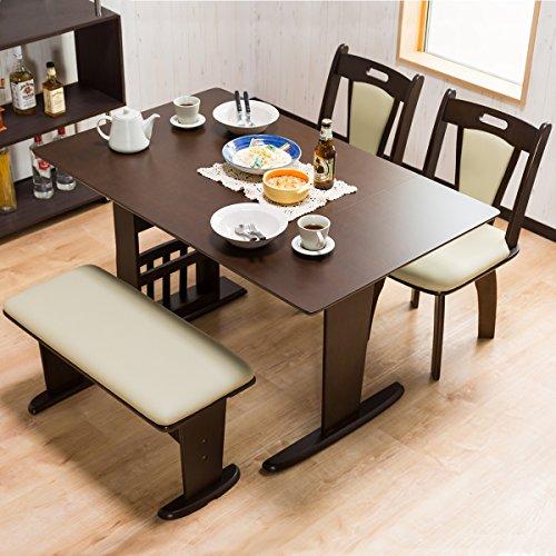 伸長式ダイニング4点セット 【丁度良いサイズの食卓セット】 利用人数や来客に合わせて対応できるダイニングテーブル(収納ラック付き) 回転チェア2脚 ベンチ椅子 (ブラウン色)