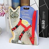 FANQIECHAODAN 2ピース調整可能な猫ハーネスとリードハーネスのセットと子猫のためのリード猫のためのハーネス、基本猫のひも (色 : 赤)