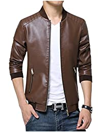 Linyuan ファッション Men's Comfy And Durable Zip Up PU Leather Jackets ジャケット Slim Fit Outerwear