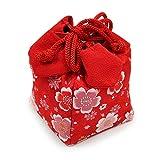【巾着袋】【日本伝統織物生地】【A 赤地/桜柄】女の子 七五三 お正月 晴れ着に