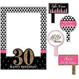 Chic 30th Birthday - Pink, Black and Gold - Birthday Party Photo Booth Picture Frame & Props - Printed on Sturdy Plastic Material