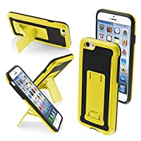 MYBAT Leather Styled Backing Advanced Armor Stand Protector Cover for iPhone 6 - Retail Packaging - Yellow/Black [並行輸入品]