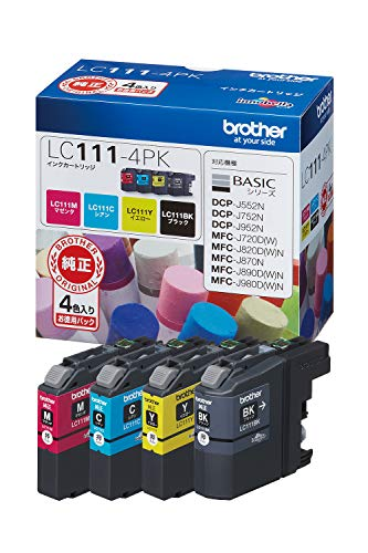 『【brother純正】インクカートリッジ4色パック LC111-4PK 対応型番:MFC-J877N、MFC-J727D/DW、DCP-J957N、DCP-J557N 他』のトップ画像