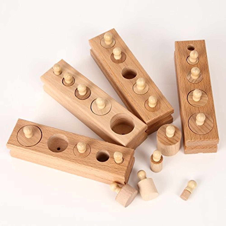 TAIHEIYO モンテッソーリ教具 挿し込み円柱 4本 輸入食品検査証取得品