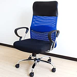 SEED 低反発オフィスチェア メッシュ ハイバック ブルー 65090046 BL