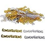 Demiawaking パーティー用品 紙吹雪 PVC 英語 賑やかな雰囲気上演 お祝い 結婚式/卒業式/パーティー飾り 金銀2カラー900pcs入り