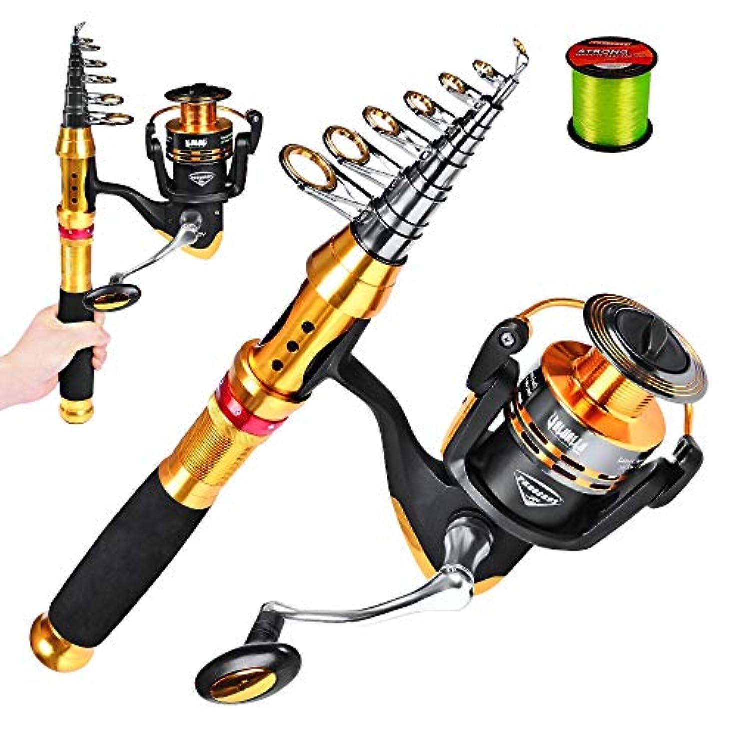 ミシンピクニック貞海釣りセット 4500糸車釣りロッドリールコンボラインフック旅行スタータープロフェッショナルフルセットをスピニングでキットをタックル 初心者 セット (Color : A, Size : 3.6m)