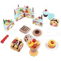 QIAONAI おままごとセット DIY バースデーケーキ 誕生日プレゼント 果物 ハッピーケーキ 切れる 女の子 ケーキセット 子供用おもちゃ  おしゃれ  キッズ  ケーキ 知育玩具 クリスマス プレゼント (L, ブルー)
