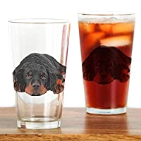 CafePress–Colored Pencil Drawing Rotweiler PU–パイントガラス、16オンスDrinkingガラス クリア 151452277233332