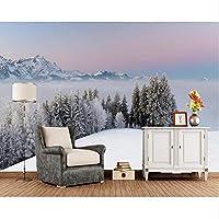 Xbwy 冬の山雪の木霧自然写真の壁紙、リビングルームの寝室テレビの背景キッチンカスタム壁画-150X120Cm