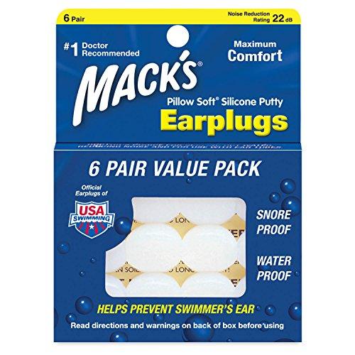 Macks Pillow Soft シリコン耳栓 6ペア NRR22 #7 透明【正規輸入品】