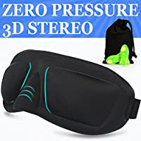 Sleep Mask AMAZKER 3D Eye Mask Ear Plugs with Large Eye Cavities for A Full Night's Sleep, Comfortable and Super Soft Eye Mask with Adjustable Strap, Works with Every Nap Position, Ultimate Sleeping Aid, Blindfold, Blocks Light (Black)