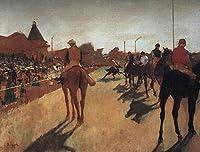 手描き-キャンバスの油絵 - Racehorses in Front of the Grandstand エドガー・ドガ horses 動物 芸術 作品 洋画 -サイズ04