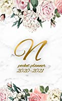 2020-2021 Pocket Planner: Golden Initial Letter N Two-Year Monthly Pocket Organizer | Personal Floral Monogram 2 Year (24 Months) Calendar & Agenda With Contact List, Password Log & Notes.