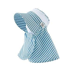 丸和貿易 ガーデニング帽子 ネックガード ボーダー ブルー レディースフリー 1003824-04