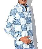 【日本製 デニムパッチワークプリントシャツ】BITTER シャツ メンズ デニム 長袖 国産 サックスM