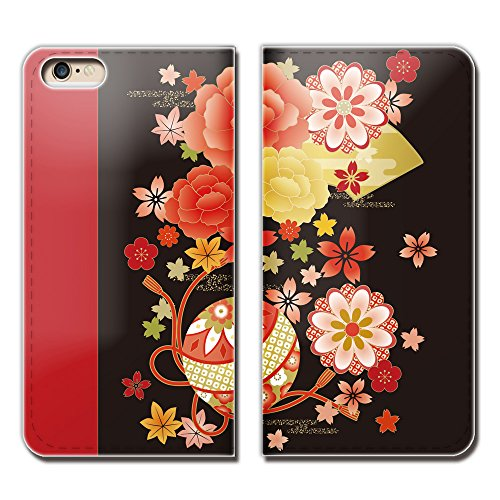 (ティアラ) Tiara iPhone X iPhoneX スマホケース 手帳型 ベルトなし 和風柄 日本 紅葉 着物 伝統 手帳ケース カバー バンドなし マグネット式 バンドレス EB275020098002...