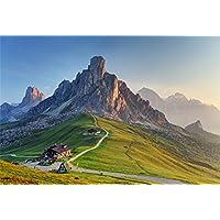 aofoto 8x 6ft Dolomites landscapeバックドロップ美しい山写真背景イタリア村ツアーLovers大人用Artistic Portrait自然風景フォトシュートStudio Propsビデオドロップ壁紙ドレープ