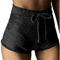 TOB Women's Soft Stretchy Drawstring High Waist Velvet Club Shorts