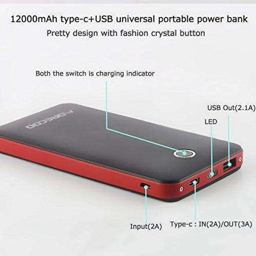 MORECOO 軽量12000mAh モバイルバッテリー タイプCも対応 Type-Cポート/USB出力ポート LEDトーチライト搭載(緊急用) 各機種対応可(旅行・ハイキングなどの必要品) (ブラック)