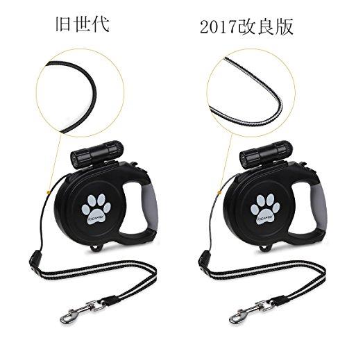 IDEAPRO 伸縮リード ペット用品 小中型犬用リードフリーウォーカー 長さ5M 荷重40㎏まで LED 懐中電灯付き (黒) (M 50kg)