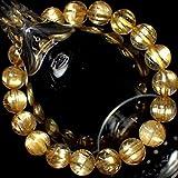 高透明度5A++級天然石キャッツアイ タイチンルチルクォーツ(黄金色) 10.5~11mm珠パワーストーンブレスレット