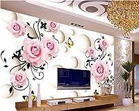 Weaeo 3D壁紙ステレオローズバタフライテレビの壁紙の壁紙、大きなカスタム家壁の3Dの装飾的な壁紙-450X300Cm