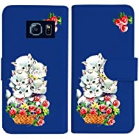 sslink SC-05G Galaxy S6 ギャラクシー 手帳型 ダークブルー ケース 猫と花かご レトロ バラ フラワー ダイアリータイプ 横開き カード収納 フリップ カバー