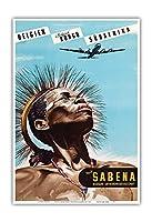 ベルギー - ベルギーのコンゴ - 南アフリカ - Sabena (ベルギー世界航空) - ビンテージな航空会社のポスター によって作成された マルセル・クロス c.1950 - アートポスター - 33cm x 48cm