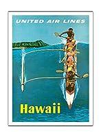 ハワイ - ユナイテッドエアラインズ - アウトリガーカヌーサーフィン - ビンテージな世界旅行のポスター によって作成された スタン・ガリ c.1960 - アートポスター - 30.5cm x 41cm