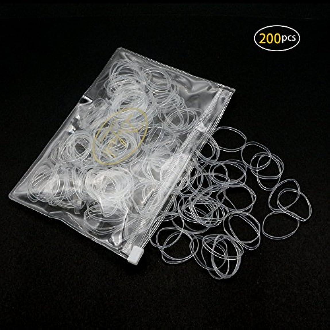 Dofash 200個入り 絡まないアックス輪ゴム、ヘアゴムきれにくいゴムバンド TPU 2.5x75mm ヘアスタイル用 透明バック付 女の子のためと子供用 (クリア)