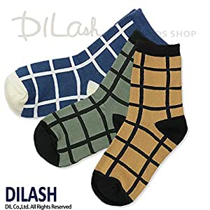 (ディラッシュ) DILASHクルーソックス(チェック)/秋 L(19~21cm) ベージュ