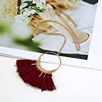 Royarebar ファッションレディースネックレス レディースヴィンテージタッセルペンダント ロングセーターチェーンネックレス ワインレッド