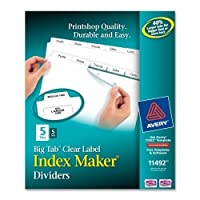 (5-set, 5-tab) - Avery Big Tab Dividers, Print & Apply Clear Label, Index Maker Easy Apply Strip, 5-Tab Dividers, 5 Sets (11492)