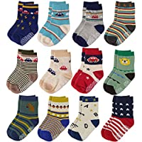 12 Pairs Baby Boys Toddler Non Skid Cotton Socks with Grip 1-3 Years by Flanhiri (1-3 Years 12 pairs)
