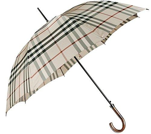 [バーバリー] BURBERRY カバー付きチェック柄ジャンプ式紳士用雨傘 ベージュ系