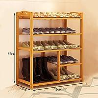 靴ラック、靴の棚のホルダーストレージオーガナイザー(69/79 * 25 * 87センチメートル)のための整理ラックの5層天然竹木製シンプルな靴ベンチブーツ