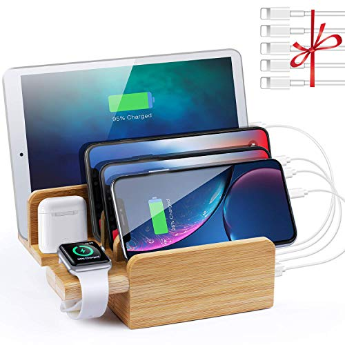 SENDOW USB充電スタンド 竹製 6ポート USB充電器 収納スタンド 最大10A 5本ケーブル付属 iPhone XR/X/XS/8/8 PLUS/7/7PLUS Samsung Galaxy S10/S10 Plus/ S9/S9 Plus/S8/ S8plus/S7 Huawei Sony Xeperia