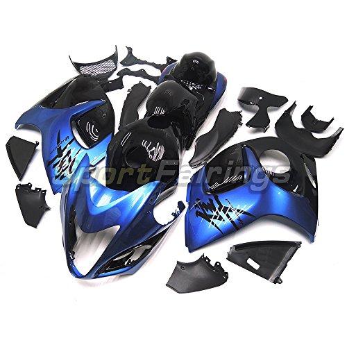 Sportfairings バイク 外装パーツセット 適合 鈴木 Suzuki GSX-R1300 GSX-R GSXR 1300 隼 2008 - 2015 09 10 11 12 13 14 年 パール青と黒 エンクロージャ