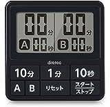 ドリテック(dretec) キッチンタイマー(デジタル) ブラック 7.5×7.5×1.0cm T-551BK