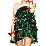 サンタコスプレ クリスマス コスプレ コスチューム サンタ衣装 レディース セクシー クリスマスツリー ツリー 大きいサイズ サンタガール レディースファッション 変装 (グリーン)