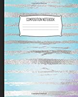 """Composition Notebook: Wide Ruled Notebook Watercolor Blue Sky Faux Foil Silver Zebra Lined School Journal 