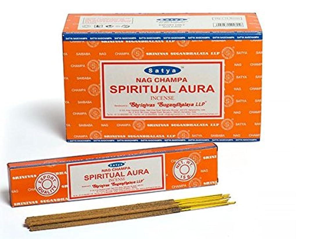 スクリーチ容量活気づけるSatya Nag Champa スピリチュアルオーラ お香スティック アガーバティ180グラムボックス | 15グラム入り12パック 箱入り | 輸出品質