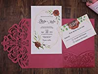 20pcs/pack Wedding Invitation Cards Laser Cut Shinny Pearl Paper Lace Invitations Party Birthday Festival Greeting Cards (Red)