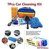 FidgetGear 7本車のクリーニングツール洗車キットインテリアエクステリアクリーニングスポンジブラシ&バッグ