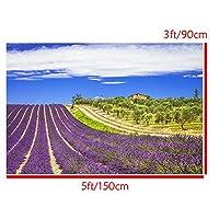 FidgetGear ロマンチックなラベンダー畑ビニール写真の背景スタジオ写真プロップの背景 16.ラベンダー畑と青空3 x 5フィート