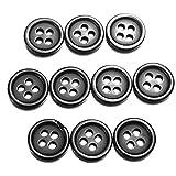 10個入り4穴ブラックラウンドレジンのボタン縫製工芸ボタン7サイズ(ランダム:サイズ)