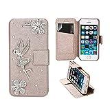 Stayoung iPhone5ケース iPhone5sケース 手帳型 マグネット式 シルク調レザーカバー スタンド機能 カードポケット付 可愛い天使&お花 防塵 耐衝撃 軽量 ベージュ