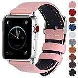 Fullmosa コンパチ Apple Watch バンド ベルト アップルウォッチバンド38mm 42mm Fullmosa apple ウォッチ4(44mm)3 2 1バンド 本革レザー 交換バンド ピンク 42mm